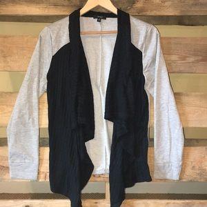 Black and Gray Waterfall Sweater Jacket